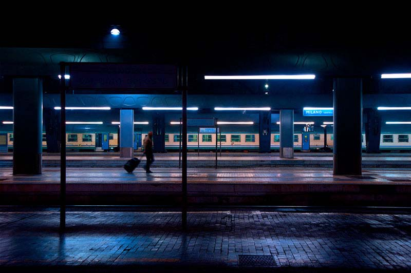 Night at a train station photographed by Luca Orsi