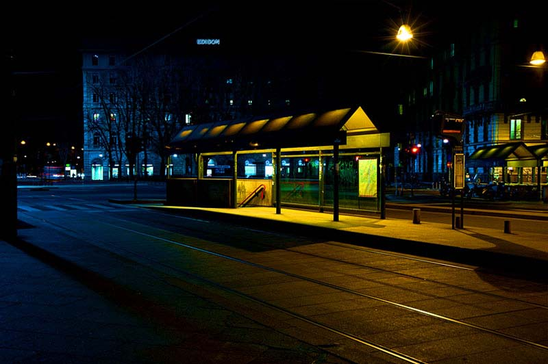 Image from Luca Orsi of a yellow lit bus station
