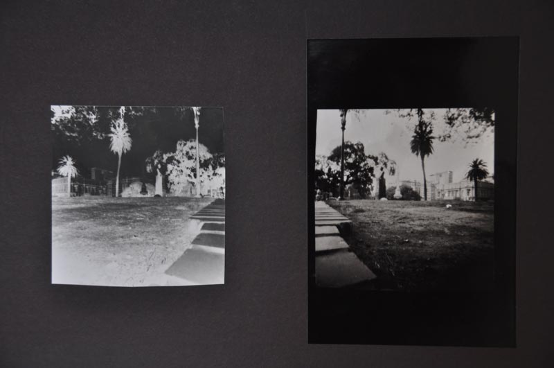 Pinhole photography shot of a man sleeping in a park