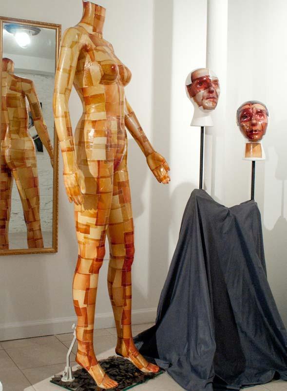 "Image from Christian Finbar Kelly - ""Fujiroid Girl Body and Heads"" - Fuji FP100 Emulsion On Plastic"