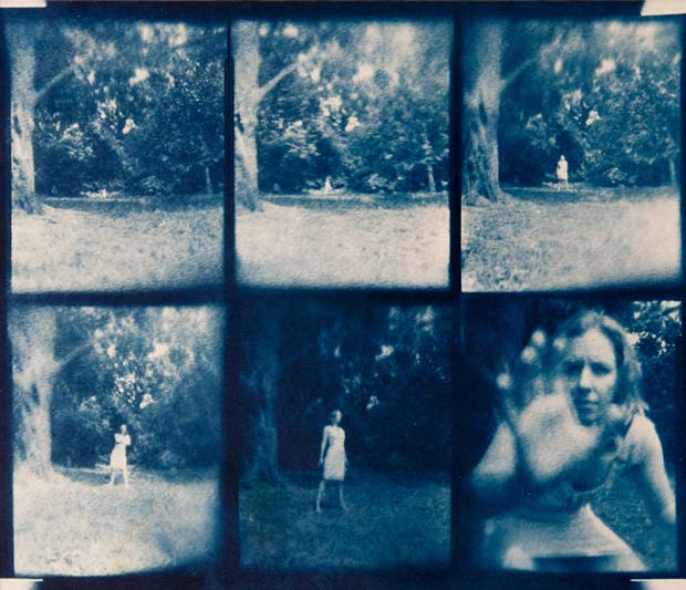 A pinhole photo of a ghostlike looking woman in a park taken by film photography lover Christian Finbar Kelly