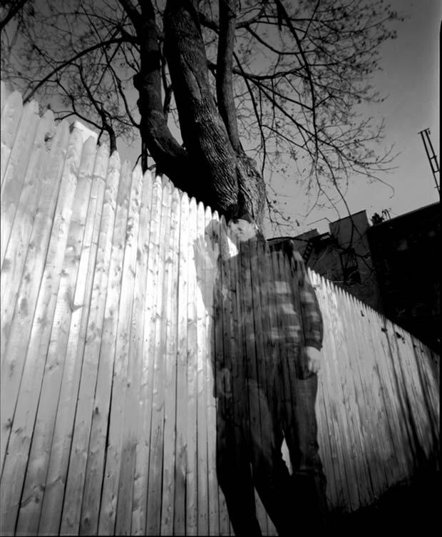 Christian Finbar Kelly took a self-portrait with a pinhole camera in his backyard