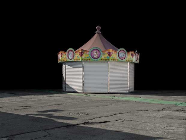 An empty carussel at night captured by Italian photographer Francesco Margaroli