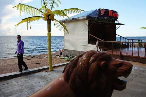 A man, a palm tree and a lion all in a funny scene on the coast captured by Ilya Atlas