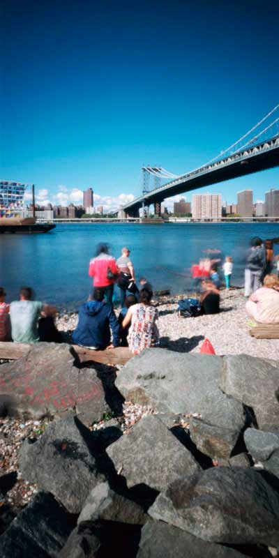 An image of Manhattan Bridge in New York taken with a pinhole camera by Jeff McConnell