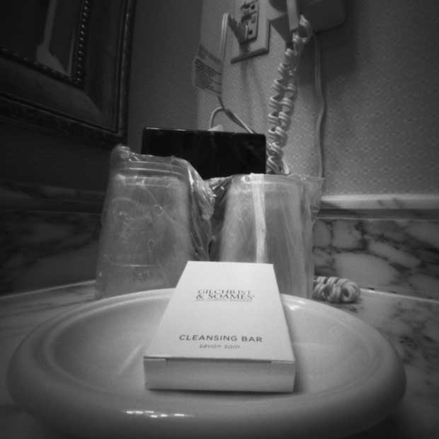 Image of amenities in the bathroom of a hotel in Washington DC