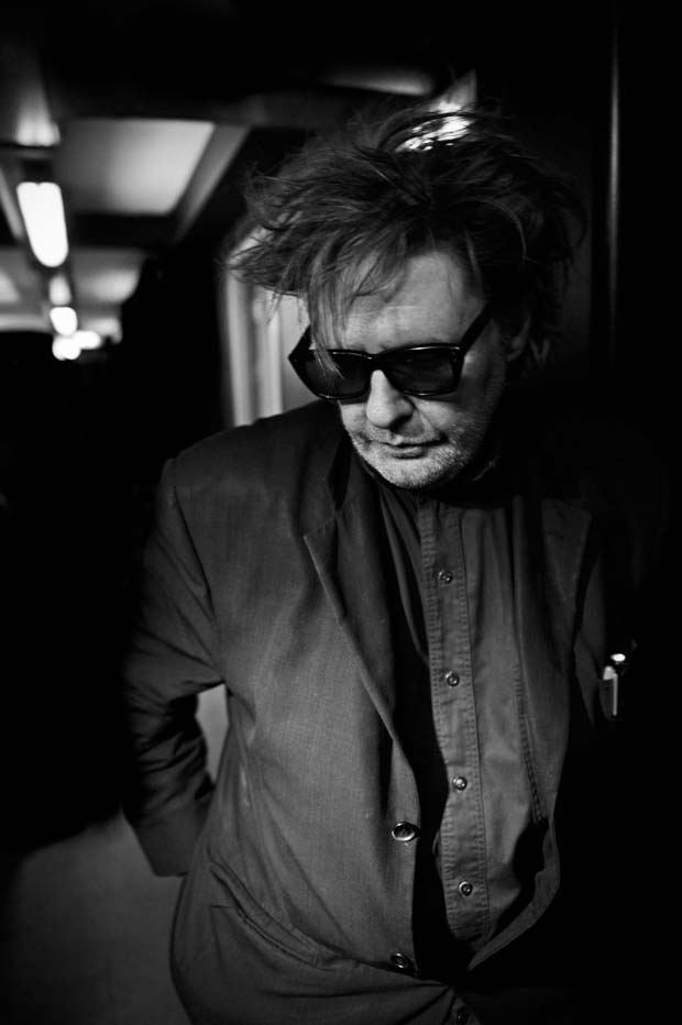 Intimate black and white portrait of Glenn Branca taken by artist Michel Mees