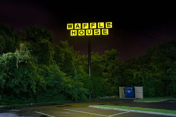 An empty parking lot of a Waffle House can be seen on this image taken by Tammy Mercure photography