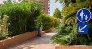 A man hidden behind some green bushes captured by Austrian street photographer Enrico Markus Essl street photography