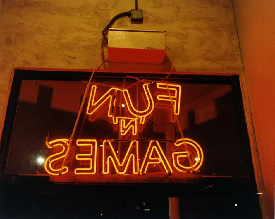 An image of a sign saying fun games taken by Lisa Kereszi