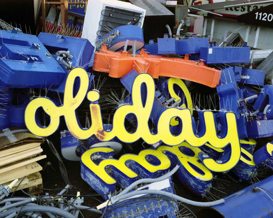 An image of a sign saying Holiday taken by Lisa Kereszi